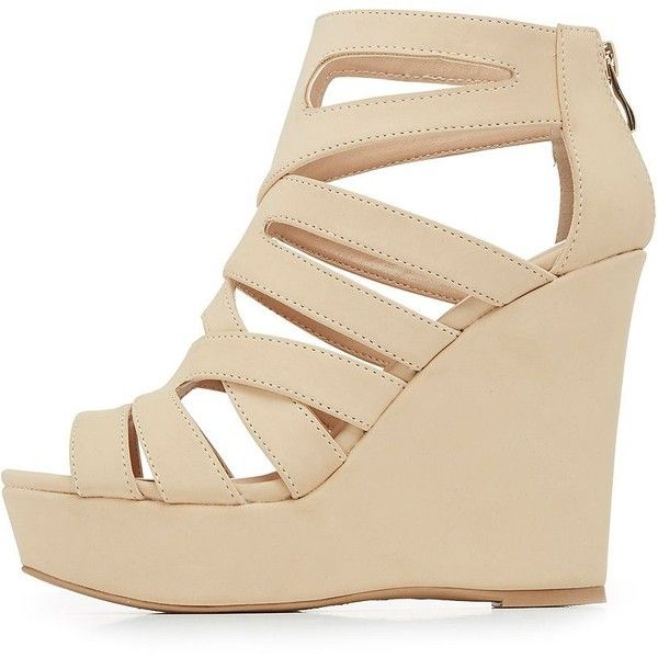 Charlotte Russe Caged Platform Wedge Sandals ($30) ❤ liked on Polyvore featuring shoes, sandals, wedges, nude, caged sandals, wedge heel sandals, strappy wedge sandals, criss cross wedge sandals and nude wedge sandal
