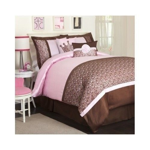 Leopard Print Comforter Set 5 Piece Twin Pink Brown Girls Bedroom Princess  Light