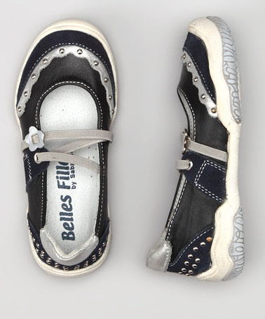 Take a look at this Belles Filles Navy & Silver Trim Sporty Flat by European Trends: Kids' Footwear on #zulily today!