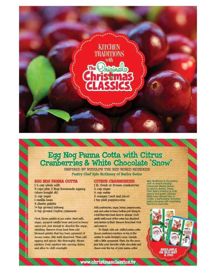 Egg Nog Panna Cotta with Cirtus Cranberries & White Chocolate *Snow*