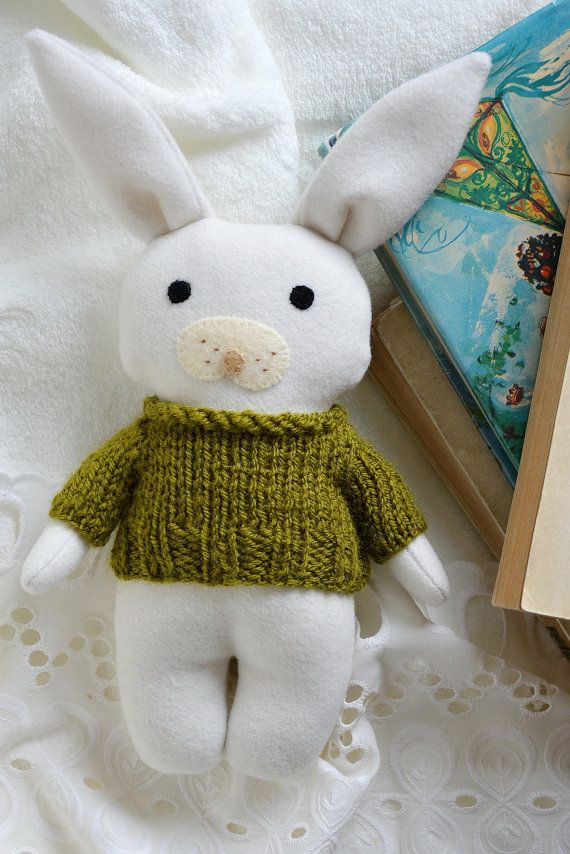 Green Pea bunny stuffed toy animalsoft toy white bunny by Fernlike