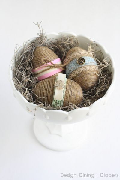 Shabby Chic Easter Eggs From Dollar Store Plastic Eggs by designdininganddiapers.com