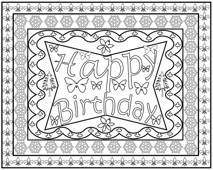 Happy Birthday Coloring Pages For Adults, Toddlers | Happy ...