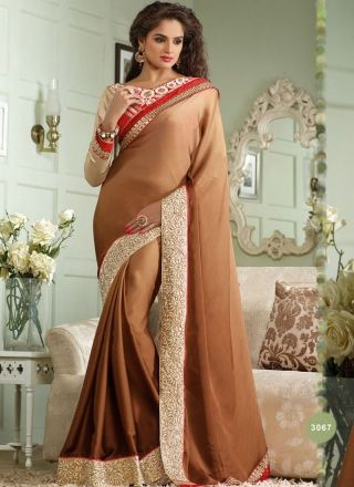 Beautiful Brown Silk Designer Party Wear Saree http://www.angelnx.com/Sarees
