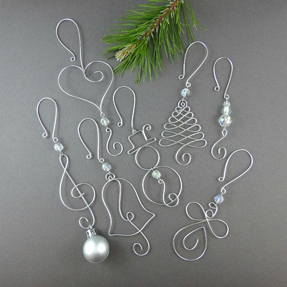FIVE Beaded Christmas Ornament Hooks - Wire Ornament Hangers with Beads for…