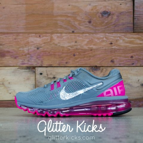 Women's Nike Air Max 360 Running Shoes By Glitter Kicks - Customized With Swarovski Crystal Rhinestones - Gray/Magenta
