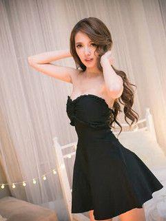 Korean Wholesale Black Strapless Pullover Ruffle Hot Match Women Dress