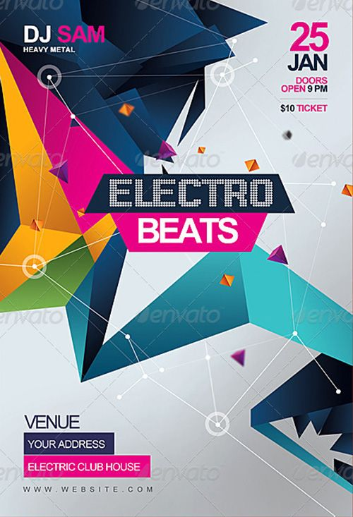 Weekly featured: Electro Beats Party Flyer Template…