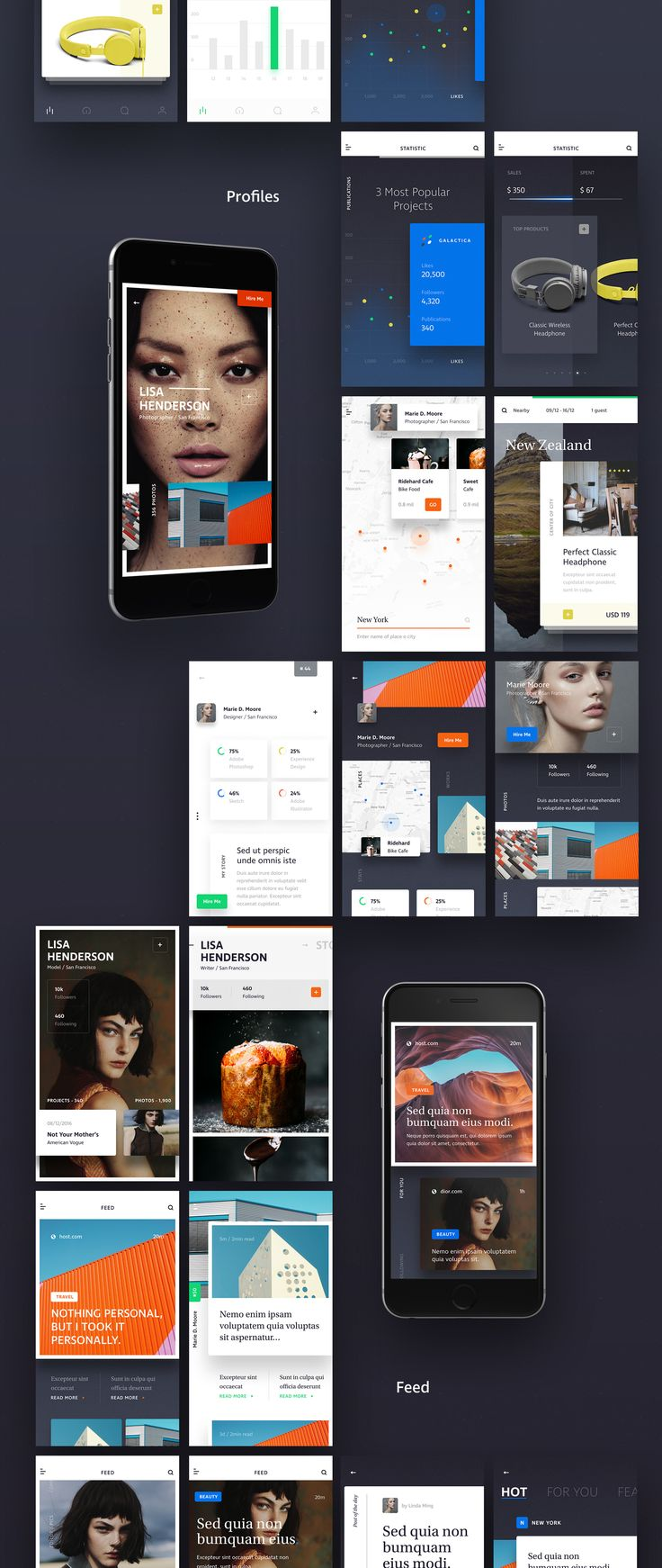 Introducing XD. A sleek, crisp new mobile iOS based UI kit built in Adobe XD. XD includes 39 mobile screens ranging over 5 categories; Walkthroughs, Feed, Profile, Statistics & Ecommerce.