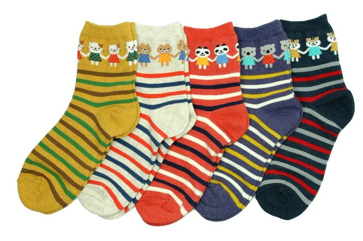 Hand in hand Animal Character Socks 5 Pair Striped Pattern Fashion Style Cute #GGORANGNAE #Casual #CharacterSocks #women #Kid #Girl #Lady #Funny #Novelty #Pattern