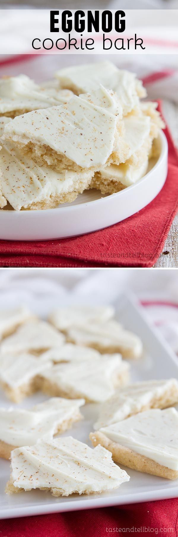 Eggnog Cookie Bark - This festive holiday recipe for Eggnog Cookie Bark is great for holiday gift giving or holiday parties.  It is a fun way to eat a cookie!