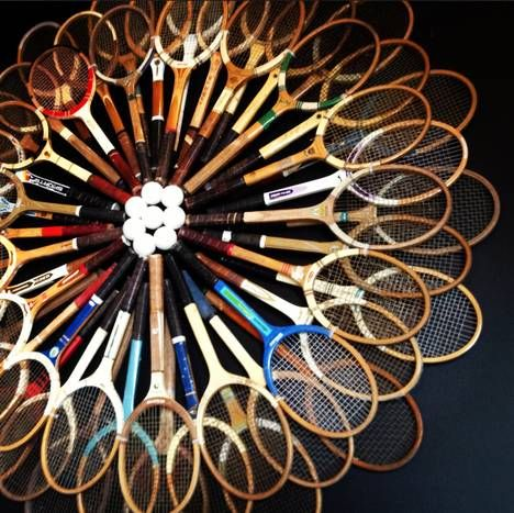 Sports equipment can be a design statement, too. In the Sports Room, this collection of tennis rackets adds to the decor.