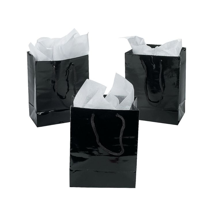 """Add the Carolyn/Chanel logo to these Small Black Gift Bags and place one at each place setting or have a little """"favor' table for the guests - OrientalTrading.com"""