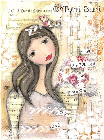 """she dreamed of peace, hope, joy"" - mixed media artwork by Toni Burt, features shabby vintage papers, old sheet music, a glorious girl with angel wings and beautiful golden colouring!"