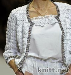 Traje saco, blusa y falda tejido al crochet combinados con lino de dama-Patrones