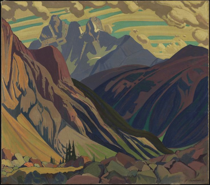 "artgalleryofontario: "" Mount Goodsir, Yoho Park, 1925 J.E.H. MacDonald (Canadian, 1873 - 1932) Painting, oil on canvas, 107.3 x 122.3 cm Gift of Dr. and Mrs. Max Stern, Dominion Gallery, Montreal,..."