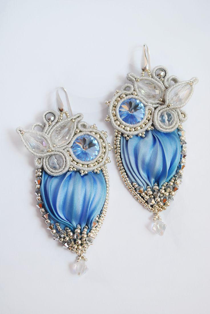 Shibori ribbon earrings, shibori jewelry, shibori silk, серьги из шелка шибори, украшения шибори, swarovski earrings, soutache earrings. MIMMI by Olha Vasylyshyn