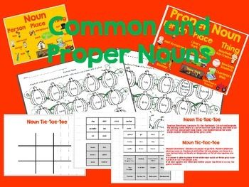 This packet includes two anchor charts that can be either blown-up or projected on the board that gives examples of common and proper nouns. It also includes a Tic-Tac-Toe gameboard and cards (Common noun cards and proper noun cards) which would be great to use in a center. The packet includes 2 worksheets where students color words to identify nouns. (One sheet covers common nouns, and the other sheet covers proper nouns).