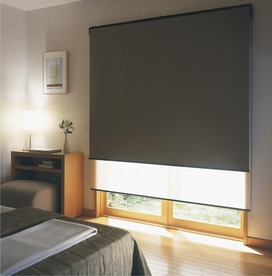Double holland blinds - Face Fit to Arcitrave, Sheer at back and blockout at front.