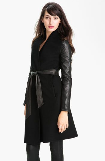 Dawn Levy 'Minka' Wool & Leather Coat