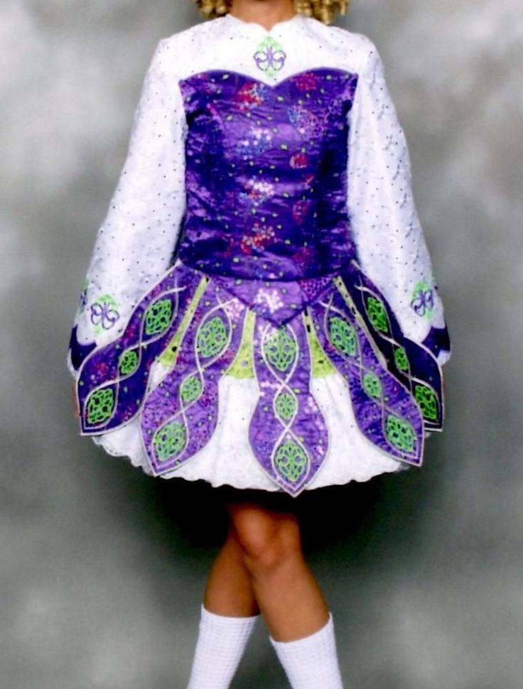 Cute White Kilkenny Creations Irish Dance Dress Solo Costume For Sale
