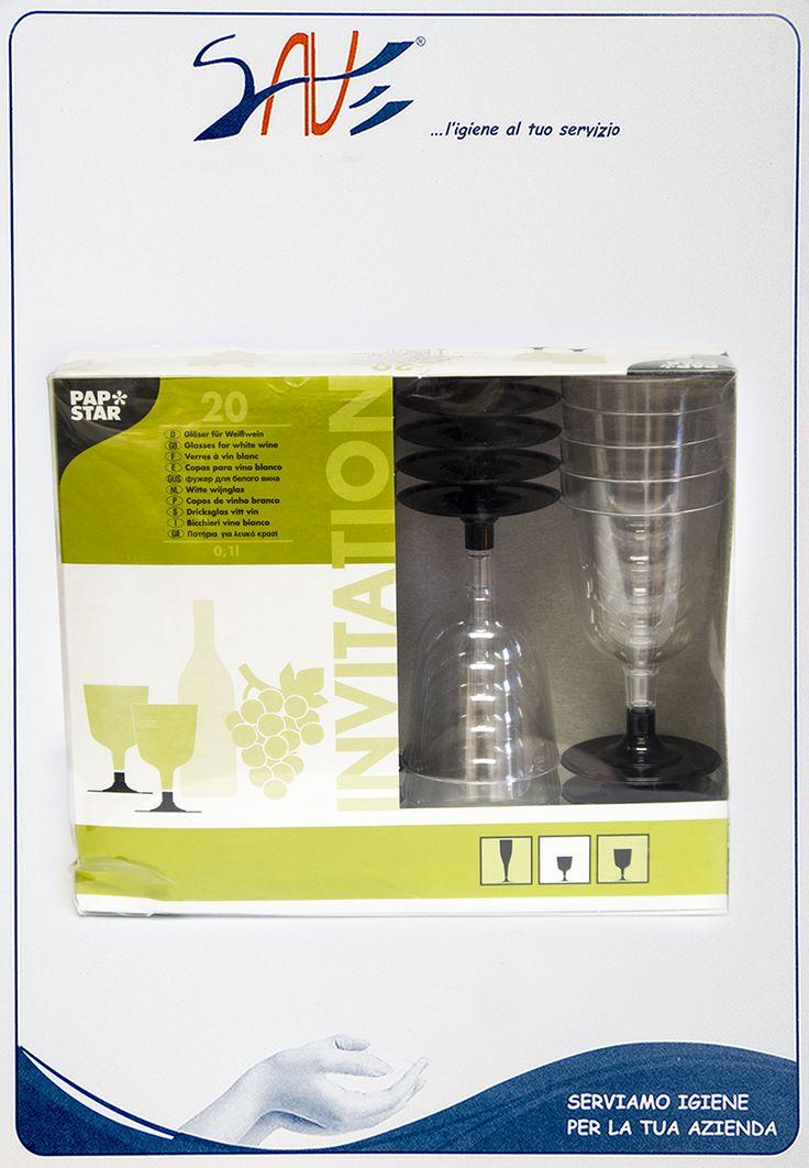 Bicchieri da vino bianco per feste linea Invitation della Papstar