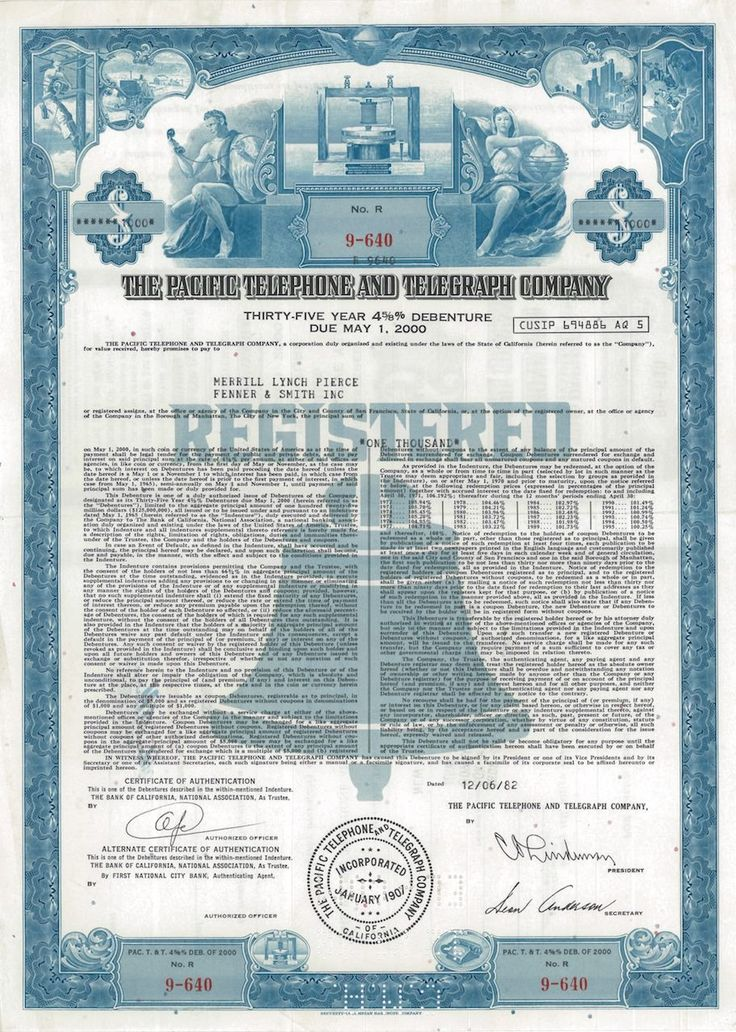 The Pacific Telephone and Telegraph Company - #scripomarket - company share certificates