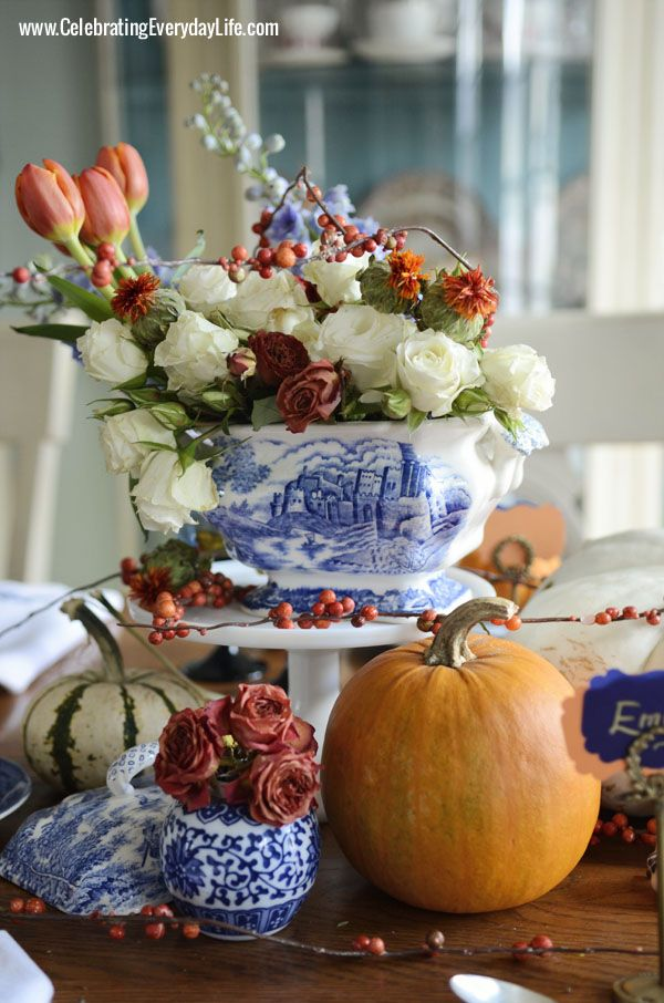 Orange tulips, white garden roses, orange garden roses, Delphinium, Safflower, faux bittersweet, A Blue Willow Thanksgiving Tablescape, Blue...