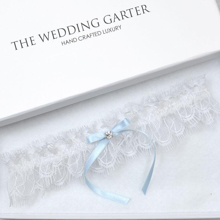 white chantilly lace garter blue garter online