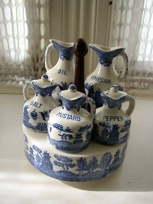Vintage, Rare, Japan 7-pc Blue Willow Condiment Set with Wooden Stand