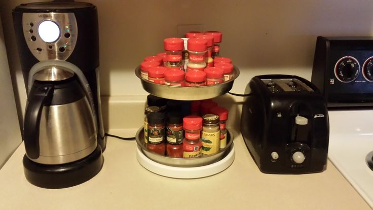 Lazy Susan spice holder. Got this idea from a Pin I saw holding craft supplies.