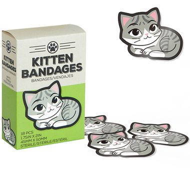 Got another scratch?  Youve gotta be kitten me!    Cover up cuts, scratches, and scrapes with our adorably irresistible Kitten Bandages!  Now you can avoid cat scratch fever with a little help from a furr-iendly little feline.    Simply apply a kitten bandage over your minor cut or scratch, curl up in bed, spend the rest of the day watching kitten videos on the internet, and youll be healed in no time.    The set includes 18 purrfectly adorable adhesive bandages.  Measures 1.75 inches tall…