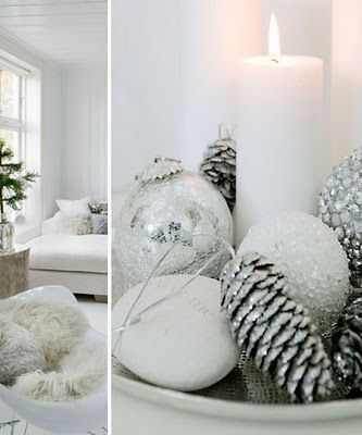Silver and White Holiday Table Decor