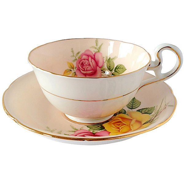 Pre-Owned Royal Grafton Cup & Saucer Set found on Polyvore featuring home, kitchen & dining, drinkware, multi, serveware, bone china, bone china tea cups, tea cup & saucer, tea cup and saucer and tea cups