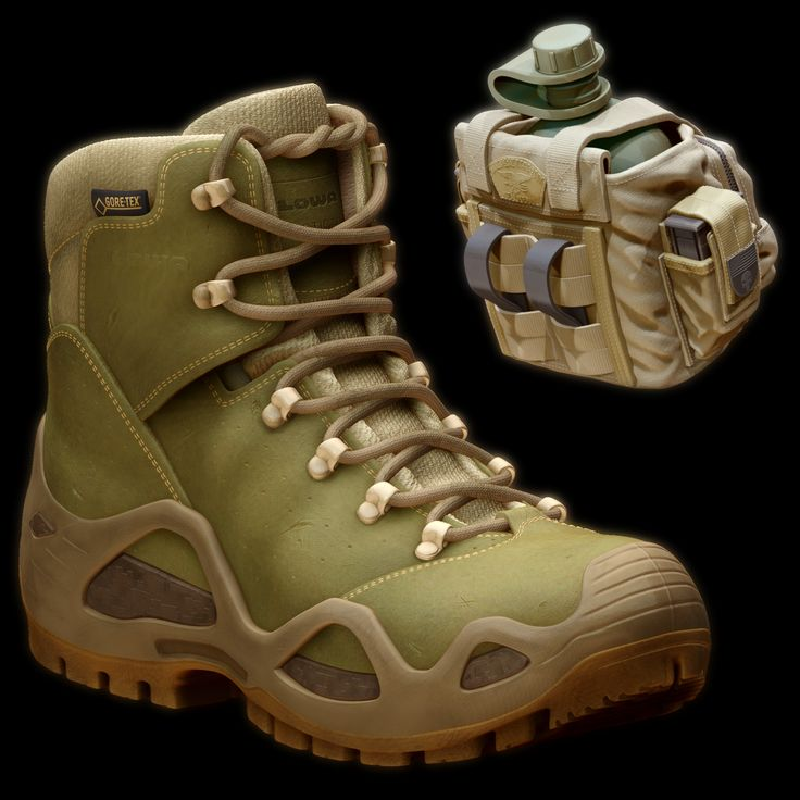 Military Accessories: M-4 Large Waistpack USGI 1-qt Canteen / LOWA Task Foce Z-6S GTX Boots , Andre SiK on ArtStation at https://www.artstation.com/artwork/d6AyJ?utm_campaign=notify&utm_medium=email&utm_source=notifications_mailer