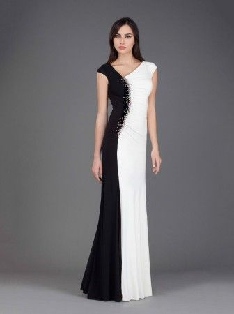 Style #J6427 Black and White Formal Gowns with Cap Sleeves