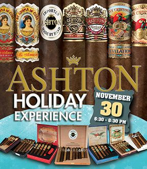 Please join Alec Rubiera of Ashton Cigars and the Milan Tobacconists team for a terrific evening of premium cigars, exclusive specials, holiday cigar samplers, and engaging conversation on Thursday, November 30th, from 6:30 p.m. to 8:30 p.m. at our store in Downtown Roanoke!  Click on the image above to be taken to our Events page where you can purchase tickets.