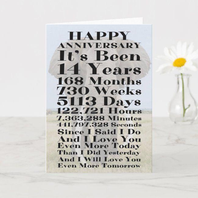 14th Ivory Wedding Anniversary Card Zazzle Com In 2021 Wedding Anniversary Cards Happy 14th Anniversary Anniversary Cards