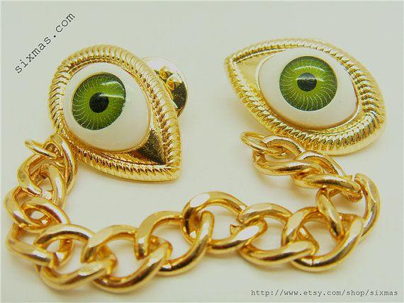 50 off Eyes chain brooch / collar clip  / silver / by sixmas, $5.69