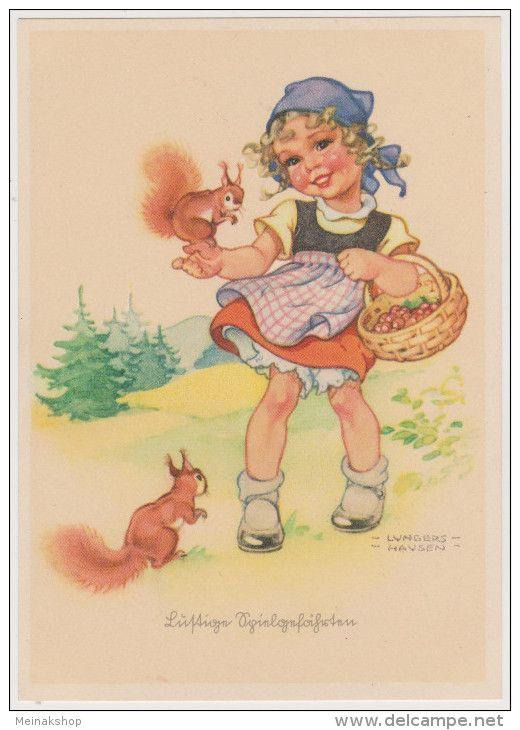 Mädchen, Eichhörnchen, Lustige Spielgefährten, Künstlerkarte, Lungershausen