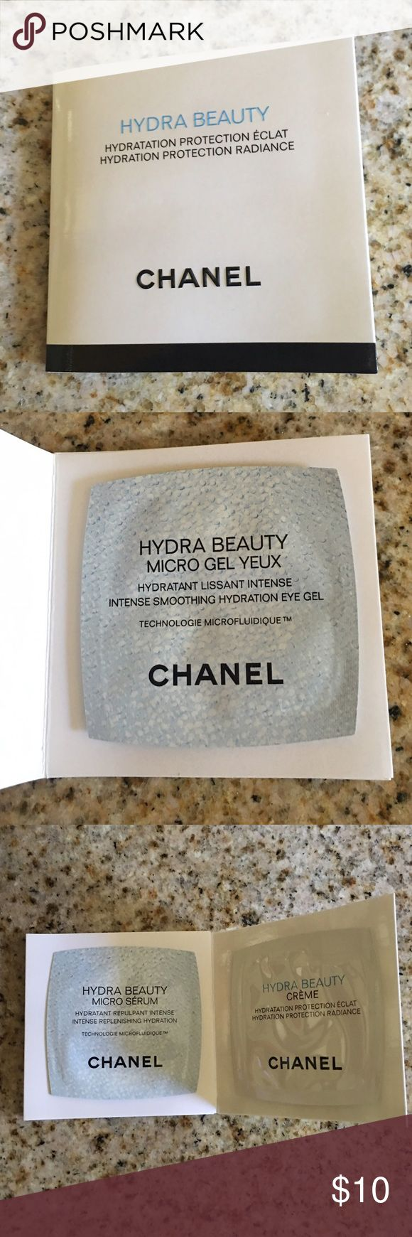 Chanel Hydra Beauty Samples Chanel beauty samples include: Micro gel yeux (0.025 fl. oz), Micro serum (0.025 fl. oz) and Creme (0.03 fl. oz). CHANEL Makeup