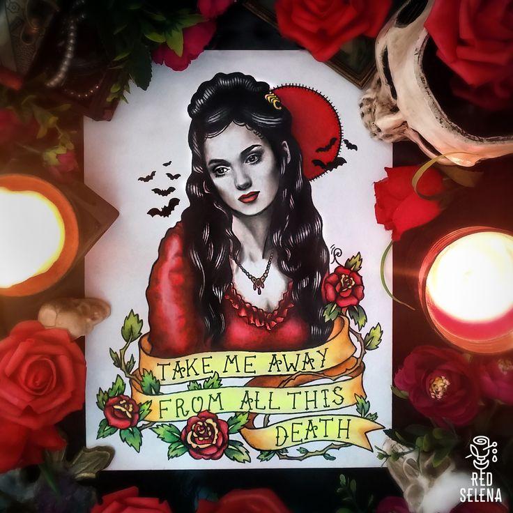 Bram Stoker's Dracula Traditional Art Old School Tattoo Flash, Mina Harker Winona Ryder by RedSelena