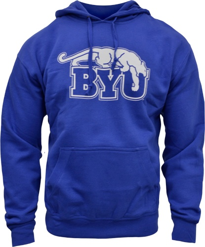 Retro Gear For Sports Cougar Over BYU Blue Hoodie