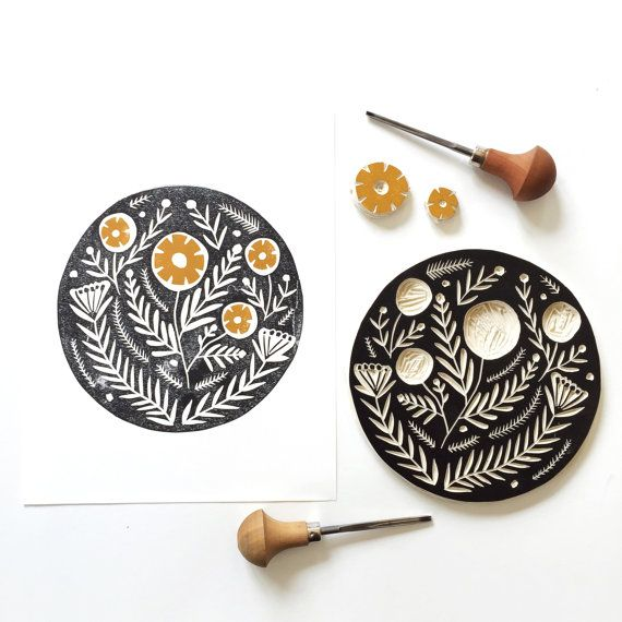 Thee most beautiful block print art featuring nature, #handcrafted by RichelleBergenArt via @etsy | Canadian #etsyshop featured in latest etsy newsletter email!  #RichelleBergenArt Shop #etsyart #etsydecor #homedecor