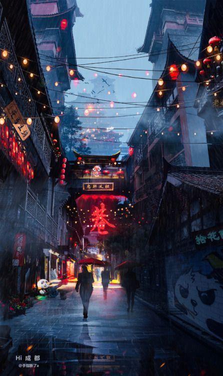 changan-moon: Strassenansicht der chinesischen Stadt im … – hugelpsblog – Leon – #changan