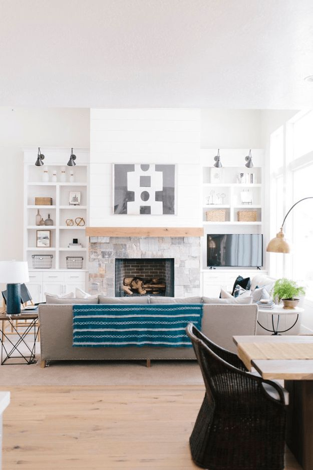 Modern White Farmhouse Interior Living Room Teal Blue Accents Peacock Light Wood