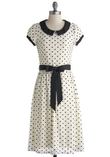 Winsome Weekend Dress - Knit, Woven, Long, White, Black, Polka Dots, Peter Pan Collar, Belted, Casual, A-line, Cap Sleeves, Good, Collared, ...