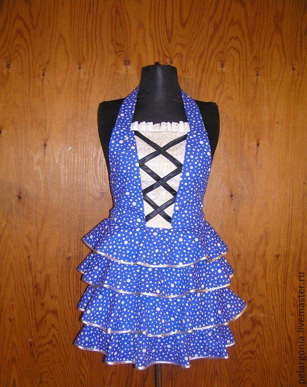 """Фартук женский """"Синий горошек""""(воланы, корсет, юбка с воланами) - женский фартук, подарок женщине"""