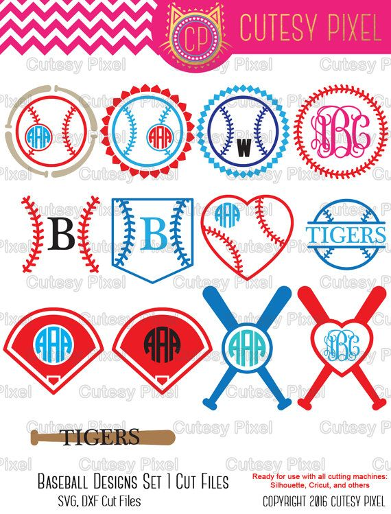 Baseball Monogram Frames Svg cutting file, baseball SVG, DXF, Cricut Design Space, Silhouette Studio,Digital Cut Files