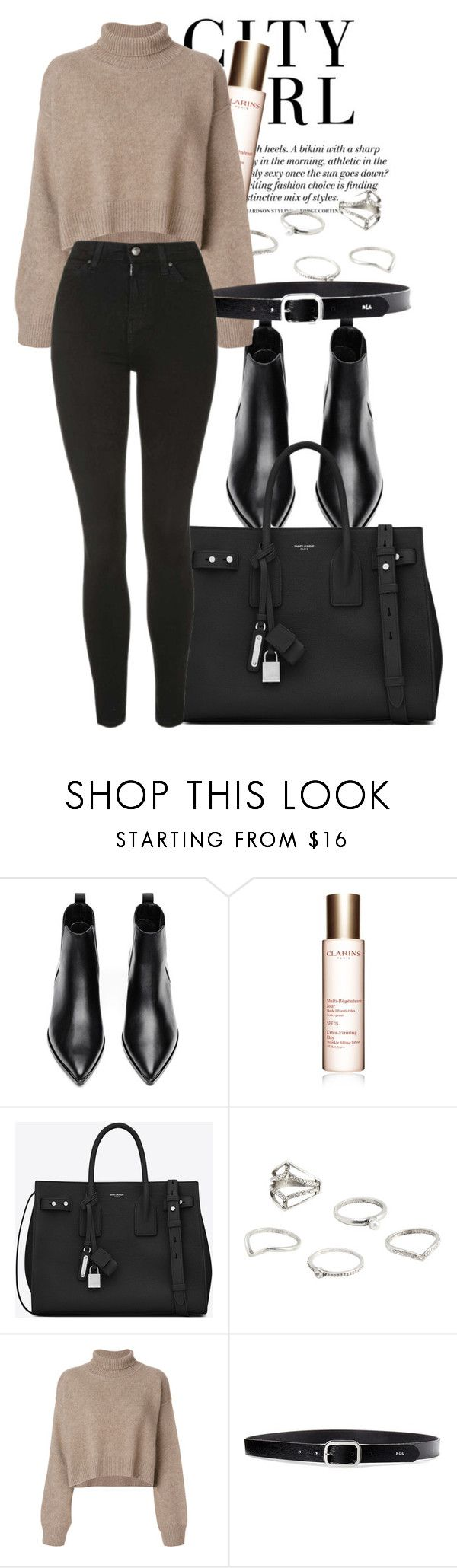 """""""Untitled #162"""" by karenxcii ❤ liked on Polyvore featuring Acne Studios, H&M, Clarins, Yves Saint Laurent, MANGO, Rejina Pyo, Lauren Ralph Lauren and Topshop"""